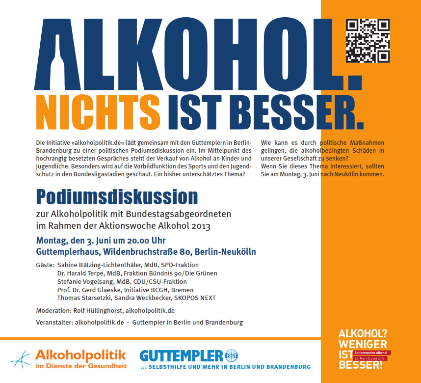 Alkohol. Nichts ist besser. Einladung zur Podiumsdiskussion