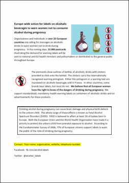 Europe-wide action for labels on alcoholic beverages to warn women not to consume alcohol during pregnancy